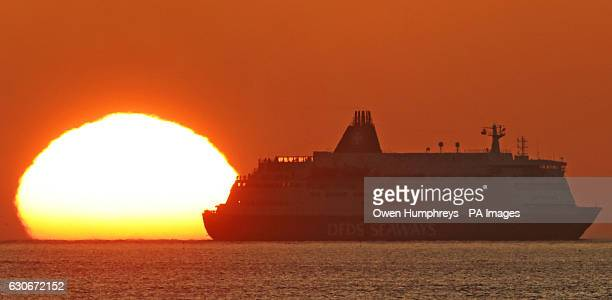 The DFDS Princess of Seaways arrives at the mouth of the River Tyne on the north east coast of England at sunrise, as forecasters warned of...