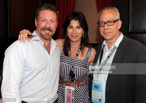 The DGA's Jon Larson, LAFF director Rebecca Yeldham and LAFF artistic director David Ansen attend the Los Angeles Film Festival's DGA Luncheon at...