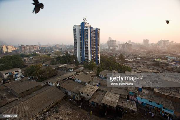 The Dharavi slum sprawls into the distance on February 2, 2009 in Mumbai, India. The redevelopment of asia's largest slum, the Dharavi, spanning over...
