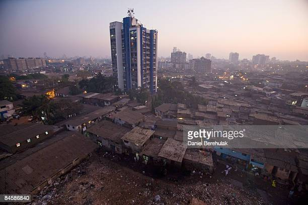 The Dharavi slum sprawls into the distance on February 2, 2009 in Mumbai, India. The re-development of asia's largest slum, the Dharavi, spanning...