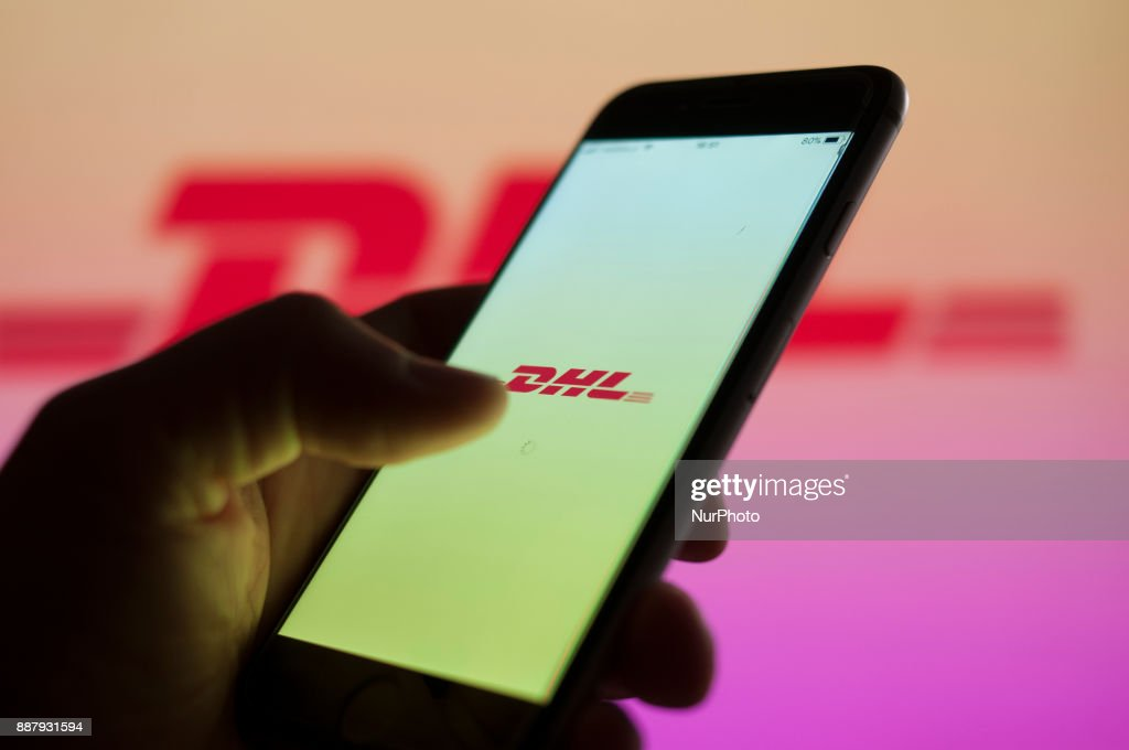The DHL pracel tracking application is seen on an iPhone on December 7, 2017.