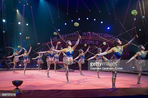 The Diabolo Girls of China perform during the 40th International Circus Festival on January 17 2016 in Monaco