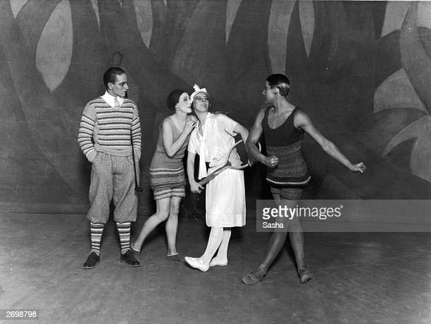The Diaghilev Ballet Russe's production of 'Le Train Bleu' an 'opertte danse' by Jean Cocteau From left to right dancers Leon Woizikowsky as the...