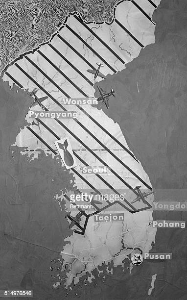 The diagonal lines on this battle map of Korea indicate territory now in Communist hands As may be seen U S planes attacked Monsan the northern...