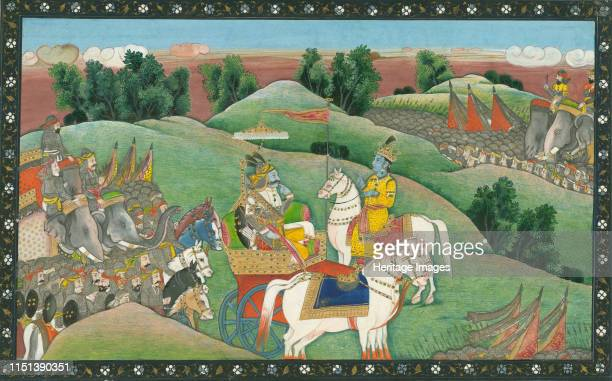 The dialogue between Lord Krishna and Arjuna, c. 1830. From a private collection. Artist Indian Art.