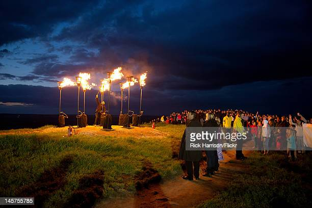 The Diamond Jubilee Beacon being lit on top of Otley Chevin - a high point on the outskirts of Leeds, West Yorkshire. The celebration/event drew a...