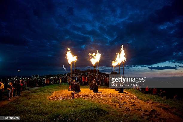 The Diamond Jubilee Beacon being lit ontop of Otley Chevin a high point on the outskirts of Leeds West Yorkshire The celebration/event drew a large...