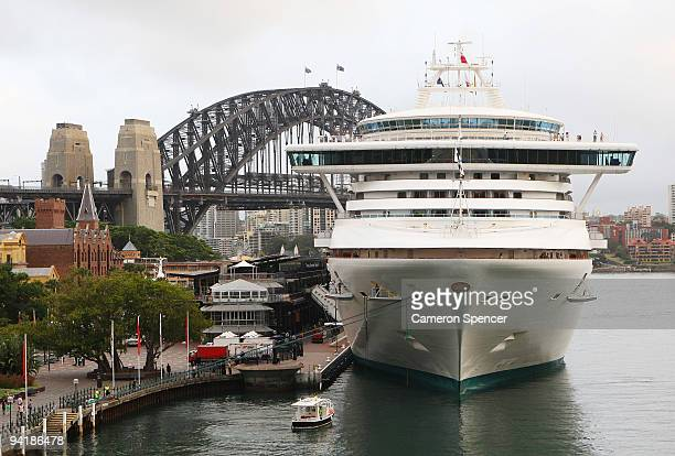 The Diamond Princess cruise ship is docked at the Overseas Passenger Terminal in Sydney Harbour on December 10 2009 in Sydney Australia The Diamond...
