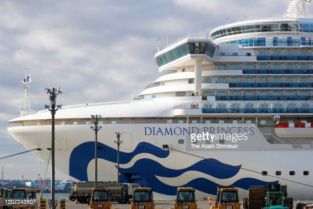 The Diamond Princess cruise ship which is anchored at Daikoku Pier of the Yokohama Port is seen prior to quarantined passengers disembark on February...