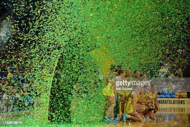 The Diamonds celebrate winning the Constellation Cup during the 2019 Constellation Cup match between the Australia Diamonds and the New Zealand...
