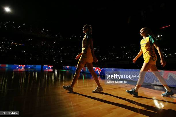 The Diamonds team take to the court before the 2017 Constellation Cup match between the Australian Diamonds and the New Zealand Silver Ferns at Qudos...