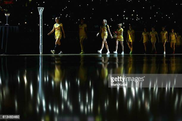 The Diamonds team take to the court before the Constellation Cup International Test match between the Australia Diamonds and the New Zealand Silver...