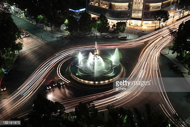 the diana fountain at night - mexico city aerial stock pictures, royalty-free photos & images