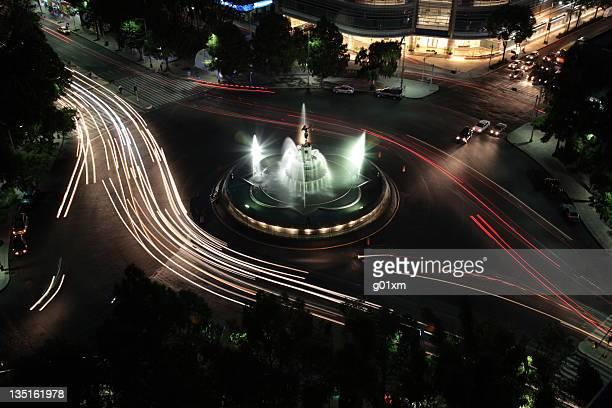 La fontaine Diana, de nuit