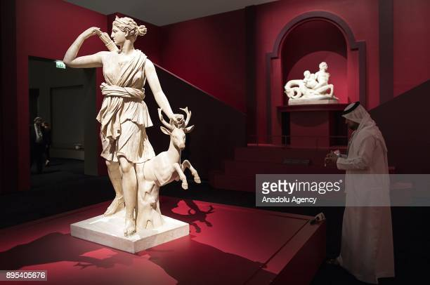 """The Diana of Versailles statue is seen during the press preview of the """"From One Louvre to Another"""" exhibition at the Louvre Abu Dhabi in Abu Dhabi,..."""