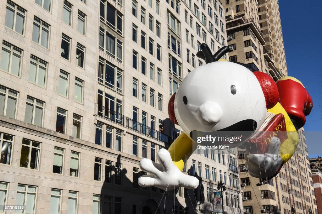 The Diary of a Wimpy kid balloon floats on Central Park West during the annual Macy's Thanksgiving Day parade on November 23, 2017 in New York City. The Macy's Thanksgiving Day parade is the largest parade in the world and has been held since 1924.