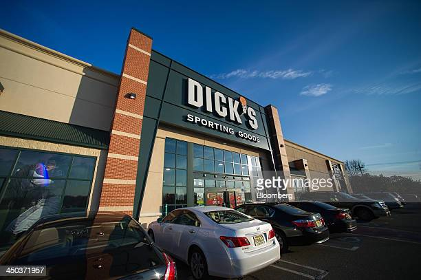 The Dick's Sporting Goods logo is displayed on the exterior of a retail location in Paramus US on Saturday Nov 16 2013 Dick's Sporting Goods may...