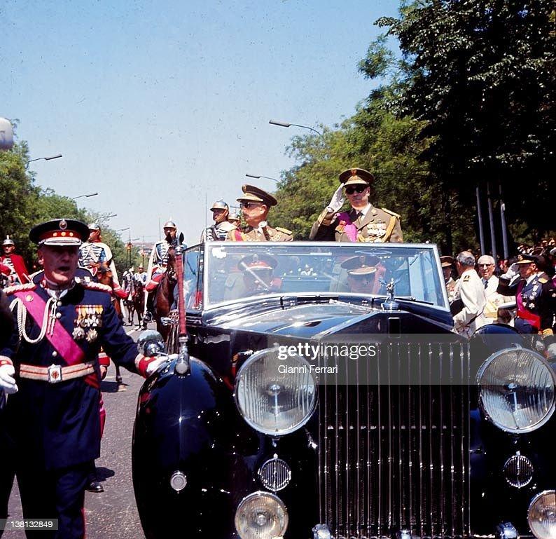 The dictator Francisco Franco and Prince Juan Carlos de Borbon on the victory parade, 1965, Madrid.