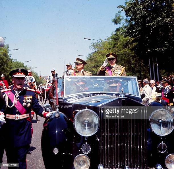 The dictator Francisco Franco and Prince Juan Carlos de Borbon on the victory parade Madrid