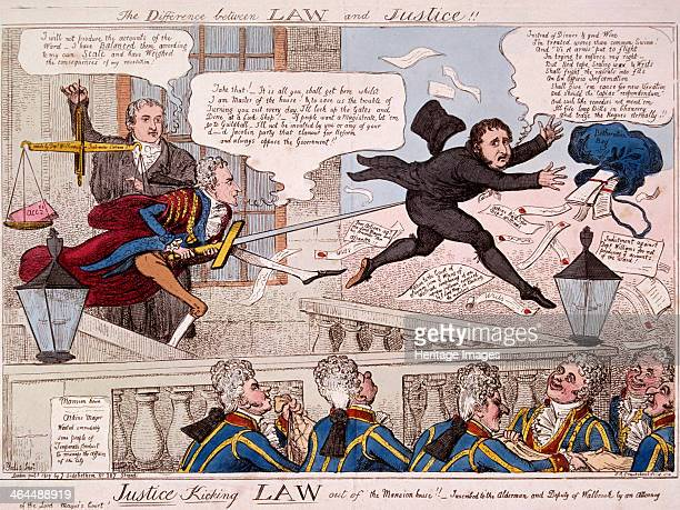 'The difference between law and justice' 1809 showing the Lord Mayor John Atkins using the City sword to prod the posterior of a visitor who leaps...