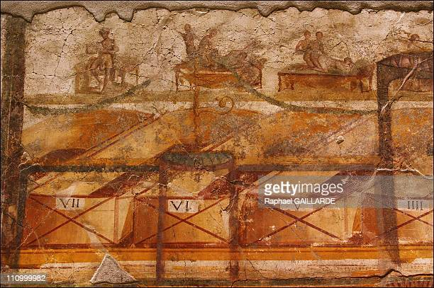 The difficult task of preserving Pompeii, a race against decay: Pompeii, thermal baths - Painting in the Fourth Pompeian Style showing erotic scenes...