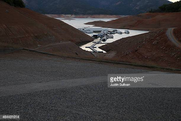 The Digger Bay marina sits in the low waters of Shasta Lake far away from the boat ramp on August 30 2014 in Redding California As the severe drought...