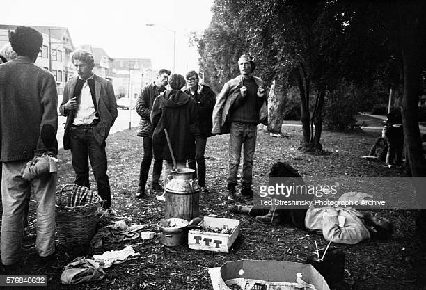 The Diggers a communal group provide free food for people at the Golden Gate Park Panhandle San Francisco | Location Golden Gate Park Panhandle San...