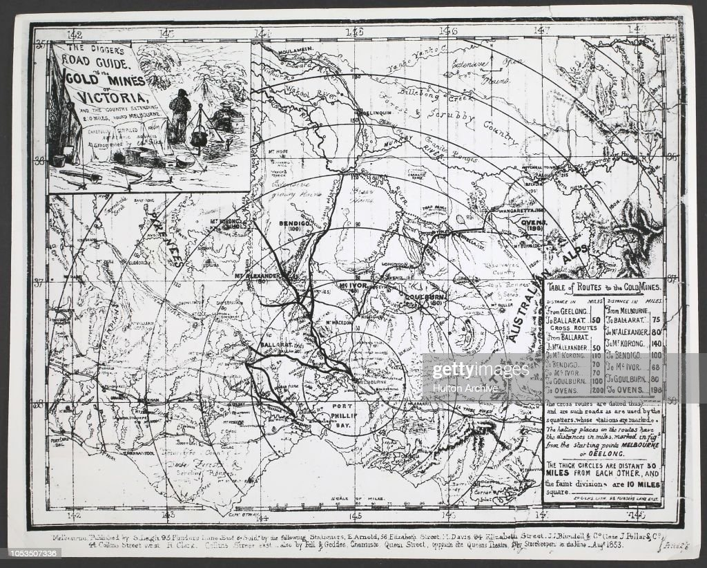 The Digger's Road Guide, a map to the gold mines of Victoria