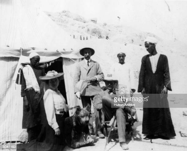 The digging camp in 1907 with Dr Howard Carter English Egyptologist seated at the time of the discovery of the tombs of Hatshepsut