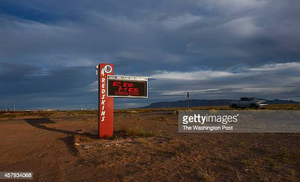 The digital display sign bearing the Redskins logo is seen outside Red Mesa High School on October 15 2014 in Red Mesa AZ The Red Mesa Redskins is a...