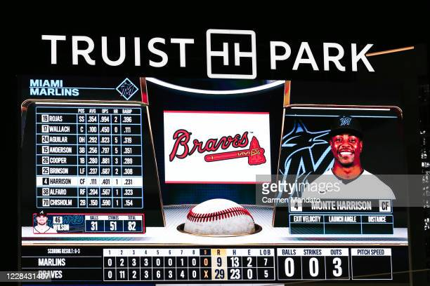 The digital scoreboard is seen during the game between the Atlanta Braves and the Miami Marlins at Truist Park on September 9, 2020 in Atlanta,...