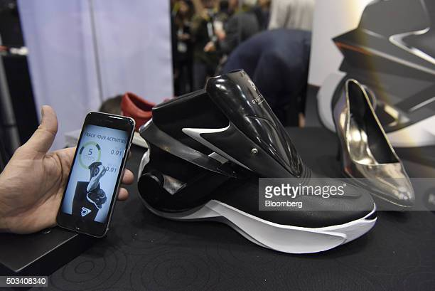 The Digitsole smartshoe is displayed during CES Unveiled at the 2016 Consumer Electronics Show in Las Vegas Nevada US on Monday Jan 4 2016 CES is...
