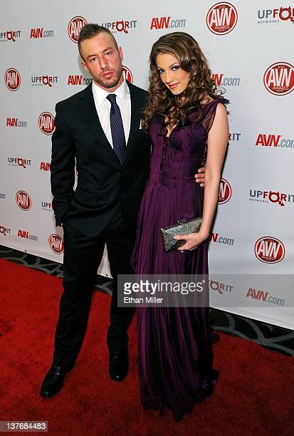The Dillinger Escape Plan singer Greg Puciato and his girlfriend adult film actress Jenna Haze arrive at the 29th annual Adult Video News Awards Show...