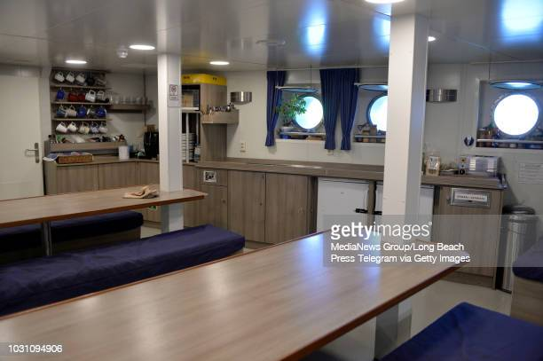 The dining hall aboard the Greenpeace Arctic Sunrise ship docked at Rainbow Harbor in Long Beach on Saturday August 4 2018 The environmental group is...