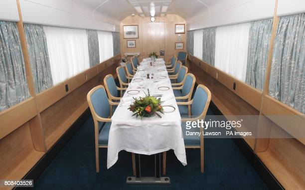 The dining room aboard the biofuel powered Royal Train that will take the Prince of Wales on a tour of Britain to promote his sustainable living...