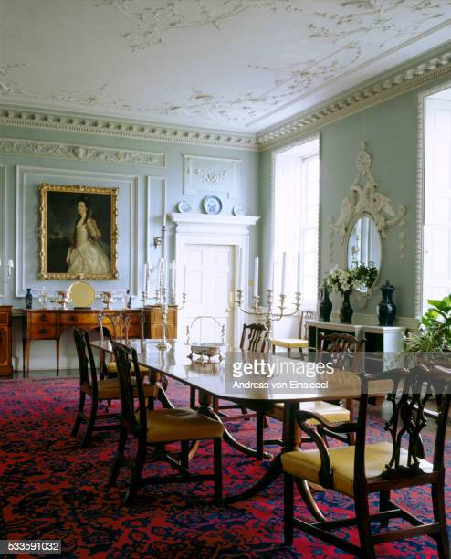 the dining room at wallington, northumberland with its c18th rococo plasterwork ceiling by pietro la - モーペス ストックフォトと画像