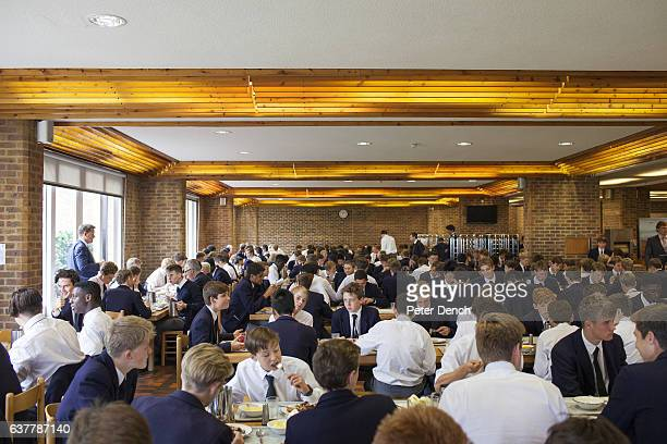 The dining room for pupils at Harrow School Harrow School is an English independent school for boys situated in the town of Harrow in northwest...