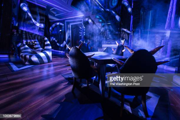 The dining room in Act II Beetlejuice opens at the National Theater and the set design is one of the main attractions