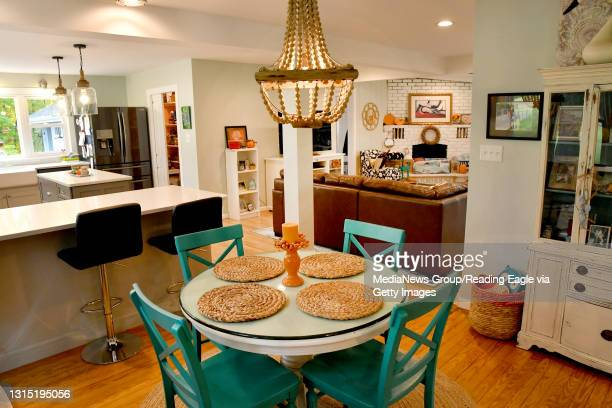 The dining room is featured in front of the kitchen and family room. Floor Plans: Shawn and Heather McAnulty hired Breyer Construction of Reading to...