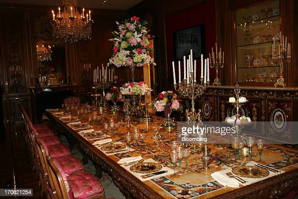 "The dining room is seen at Hillwood Estate Museum and Gardens in Washington DC US on Tuesday June 4 2013 ""Living Artfully"" an exhibition opening June..."
