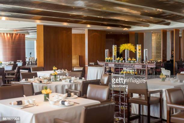 The dining room is seen inside Lung King Heen restaurant at the Four Seasons Hotel in Hong Kong China on Tuesday Sept 26 2017 Lung King Heen's...