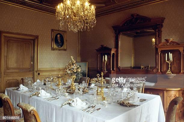 The Dining Room Kaiservilla summer residence of Emperor Franz Joseph I and Empress Elisabeth of Austria known as Sisi Bad Ischl Upper Austria Austria...
