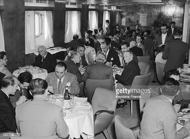 The Dining Room Of The Italian Liner 'Andrea Doria' Circa 1955