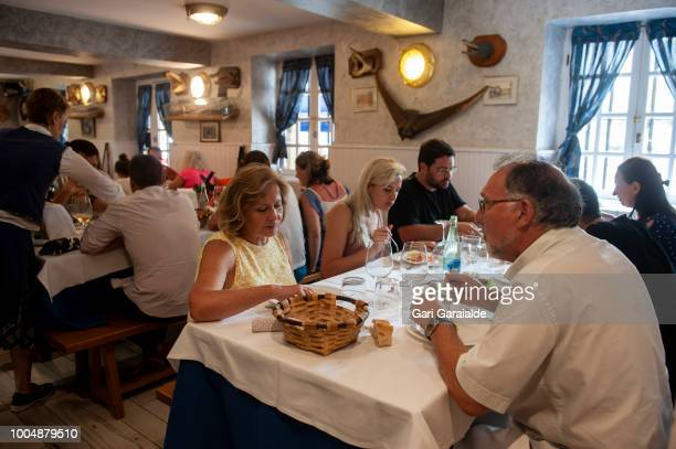 The dining room of the the Restaurante Hermandad de Pescadores on July 24 2018 in Hondarribia Spain The restaurant became famous when in 2011 an...