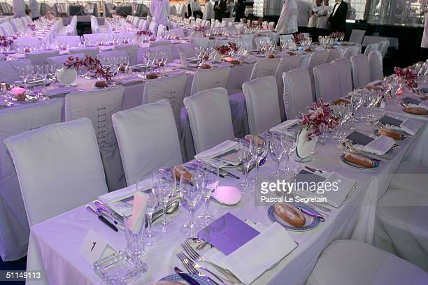 The dining table inside the Monte Carlo Red Cross Ball 2004 held at the Salle des Etoiles of the Monaco Sporting Club on August 6 2004 in Monte Carlo...