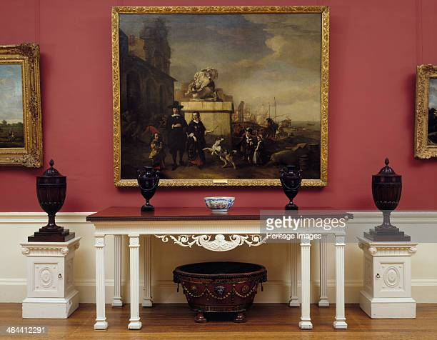 The diningroom at Kenwood House Hampstead London 1995 A large painting depicting people in seventeenthcentury dress hangs over a the sideboard and...
