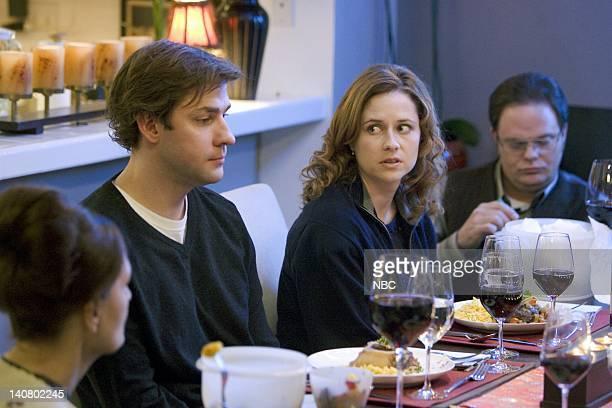 """The Dinner Party"""" Episode 9 -- Air Date -- Pictured: John Krasinski as Jim Halpert, Jenna Fischer as Pam Beesly, Rainn Wilson as Dwight Schrute --..."""
