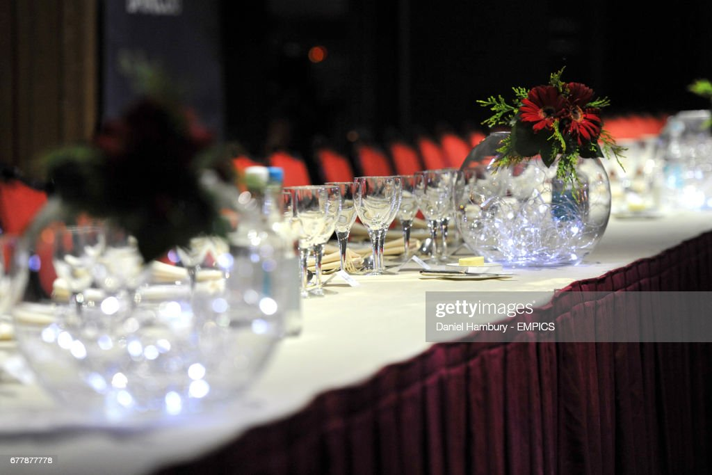 The Dinner Table Decorations Before The Awards Ceremony News Photo