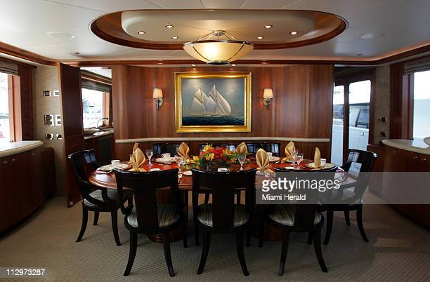 The dinning room of a Westport Yacht is shown during the