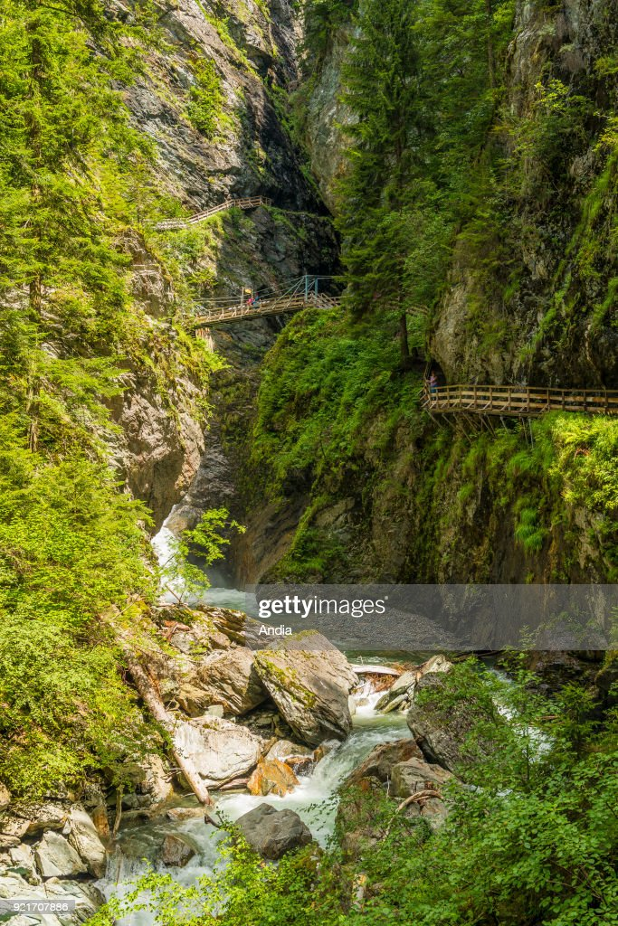 The Diosaz Gorges (Upper Savoy, French Alps): site of the gorges with hanging bridges for tourists.